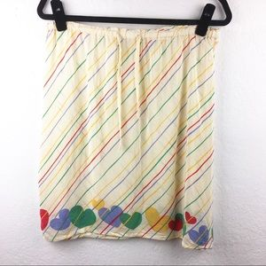 Vintage 80s Silk Cream Rainbow Hearts Skirt